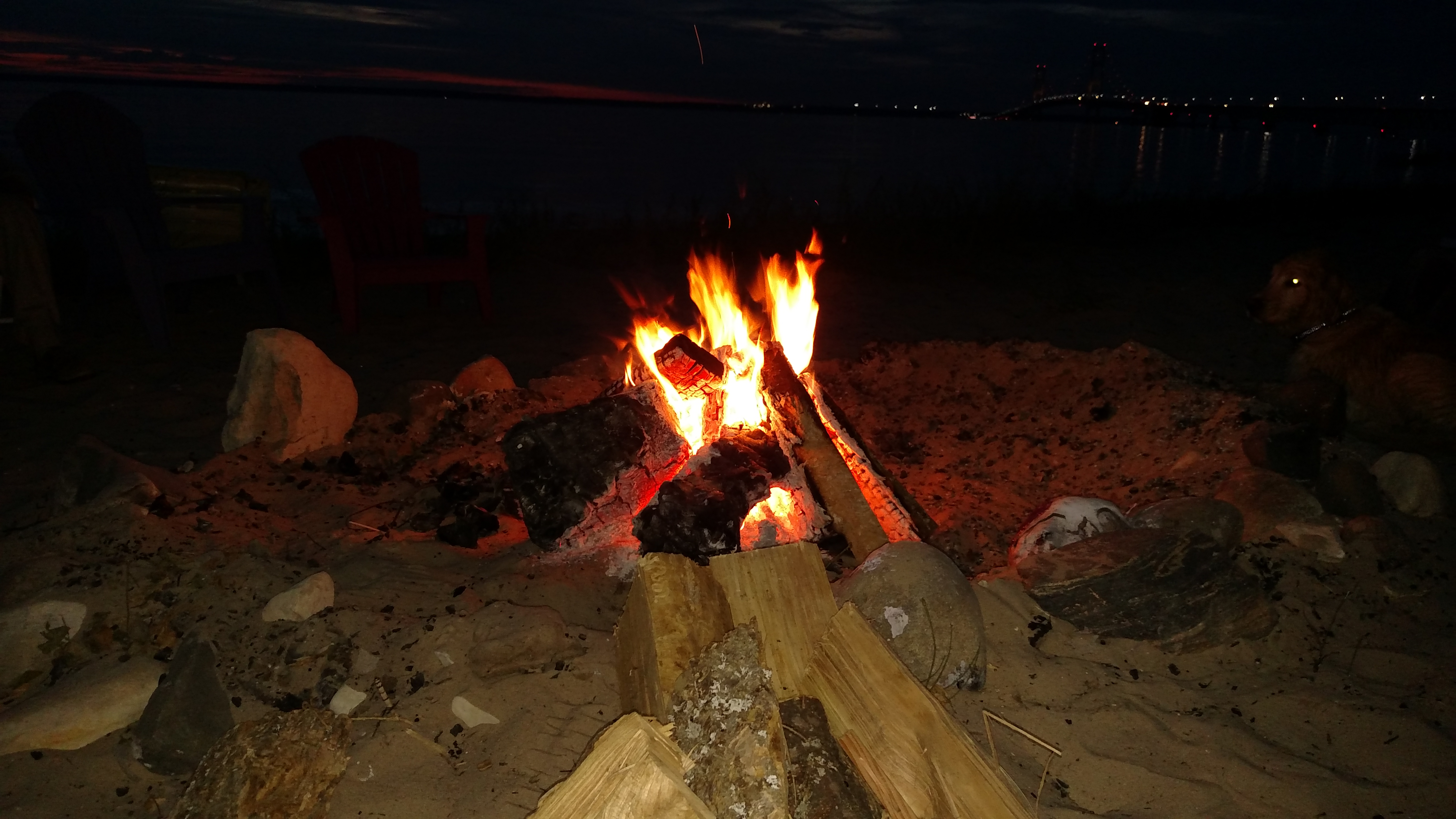 Bonfire with Mackinac Bridge in the Background